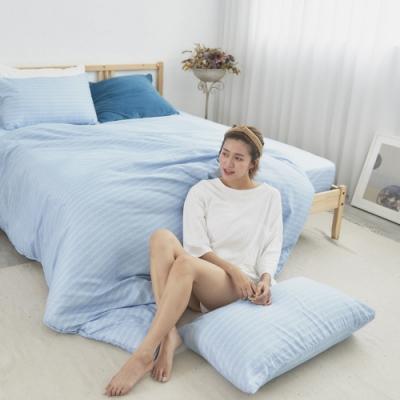 BUHO 舒涼TENCEL天絲雙人三件式床包枕套組(波藍光流)