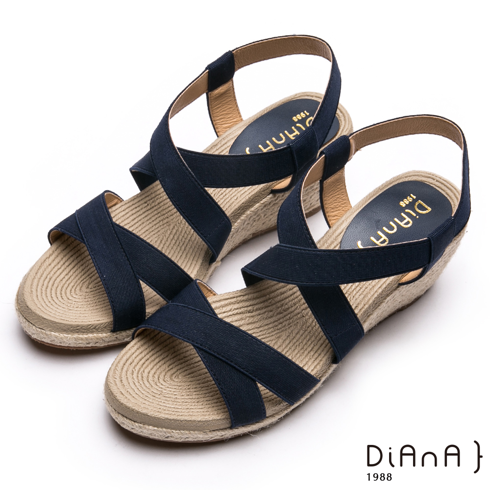 DIANA質感交叉織帶楔型涼鞋-羅馬線條-藍