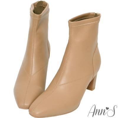 Ann'S充滿自信-美型貼腿剪裁方頭扁跟短靴-可可