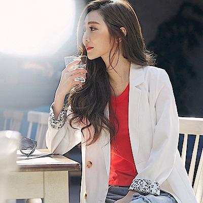 IREAL 豹紋反摺袖純色西裝外套