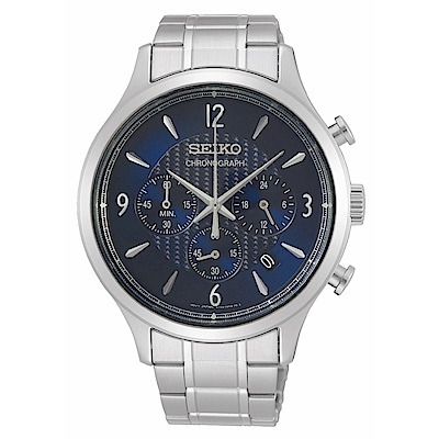 SEIKO精工 沉穩質感三眼計時腕錶8T63-00M0D(SSB339P1)
