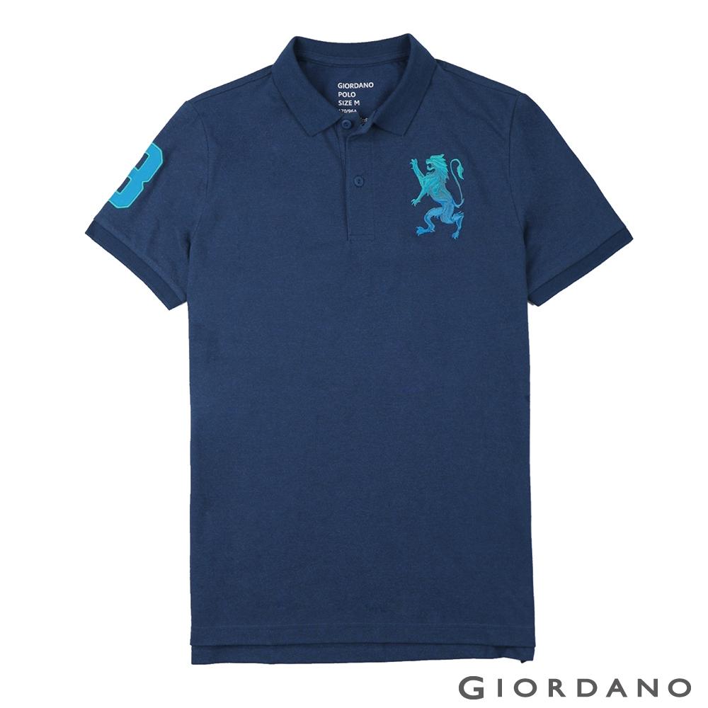GIORDANO 男裝勝利獅王漸層刺繡彈力萊卡POLO衫-41 雪花深鯨魚藍