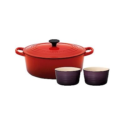 LE CREUSET 琺瑯鑄鐵橢圓鍋 23cm(櫻桃紅)+瓷器小烤皿2入(葡萄紫)