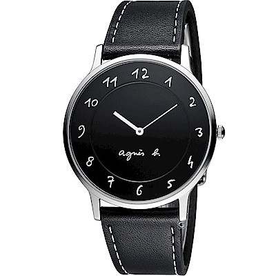 agnes b.法式優雅手寫體時標時尚腕錶(BJ5005X1 VJ20-K240)