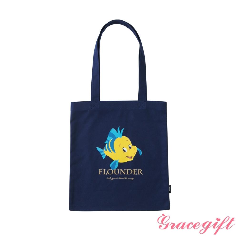 Disney collection by grace gift-小美人魚小比目魚圖案帆布袋 深藍