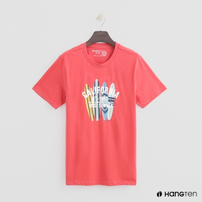 Hang Ten - 有機棉-簡約夏日加州圖樣短T - 紅