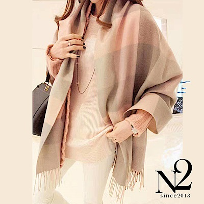 披肩 正韓粉色大格紋寬版流蘇圍巾披肩(粉) N2