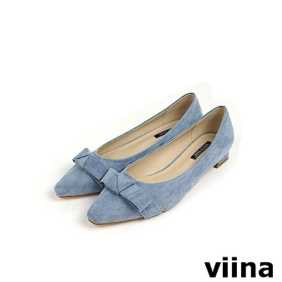 viina Basic 素面蝴蝶結低跟鞋 - 灰藍