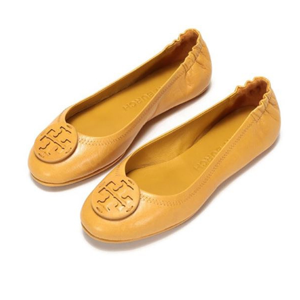 Tory Burch Minnie Travel 經典皮革LOGO鬆緊平底娃娃鞋(芥末黃)