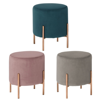 Boden-朵恩絨布小圓凳/圓型椅凳/矮凳/小椅子(三色可選)-39x39x43cm