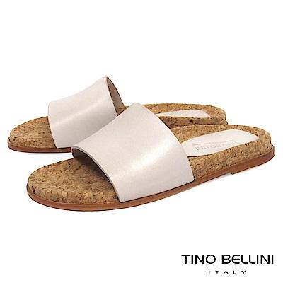 Tino Bellini 西班牙進口牛皮寬帶平底涼拖鞋_ 米杏