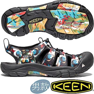 KEEN 1020289黑/印花 Newport H2 男戶外護趾涼鞋