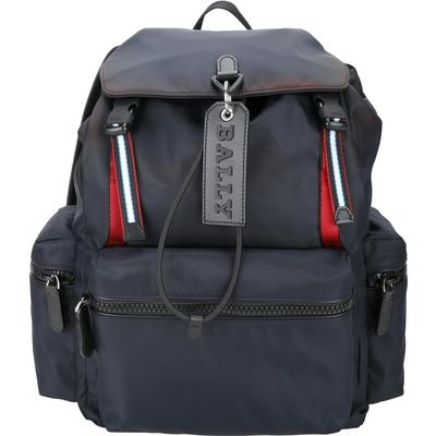 BALLY CREW 展示品 大型 深藍色皮牌標誌條紋織帶尼龍後背包(包邊緣染色)