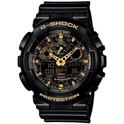 G-SHOCK 超人氣指針數位雙顯腕錶-黑金(GA-100CF-1A9)/32mm