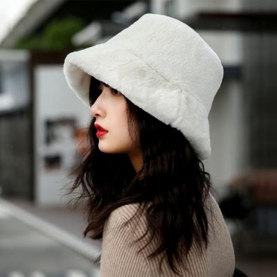 幸福揚邑 韓版時尚保暖毛絨漁夫帽盆帽平頂帽-白