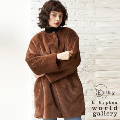 E hyphen 毛絨保暖長版剪裁大衣外套