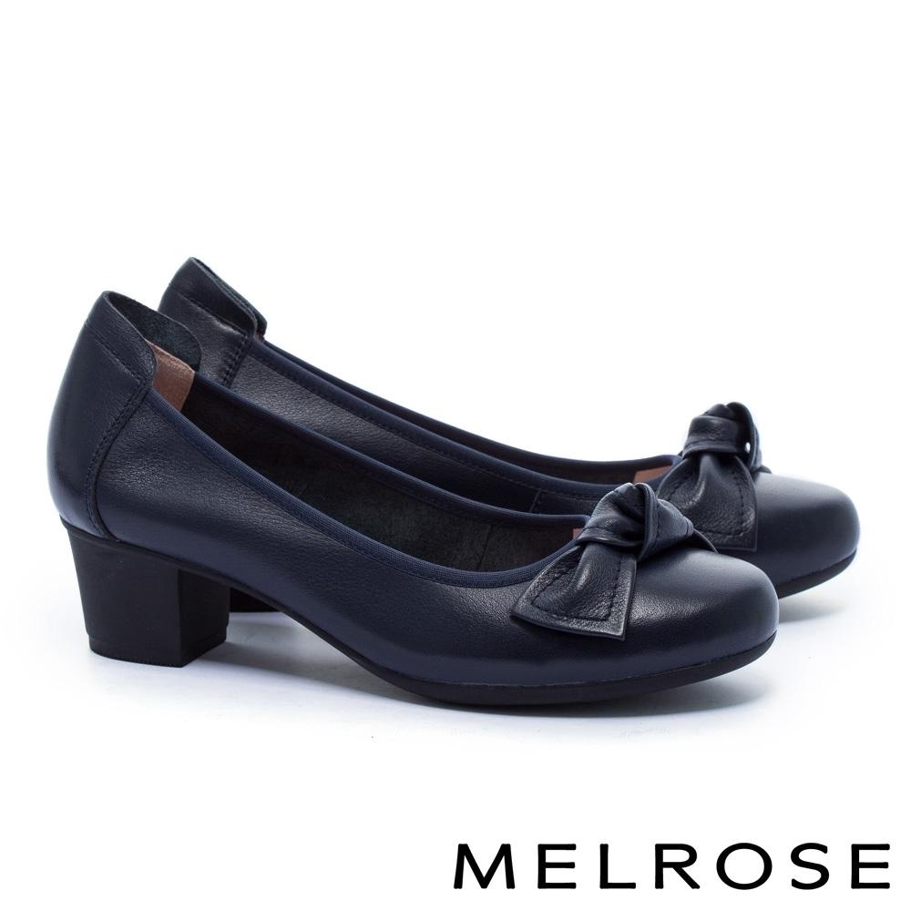 低跟鞋 MELROSE 知性典雅蝴蝶結全真皮粗低跟鞋-藍