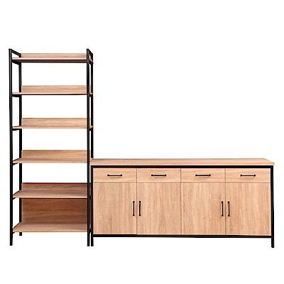 D&T德泰傢俱格萊斯原切木輕工業風收納層架+6尺餐櫃-261.3x45.3x196cm