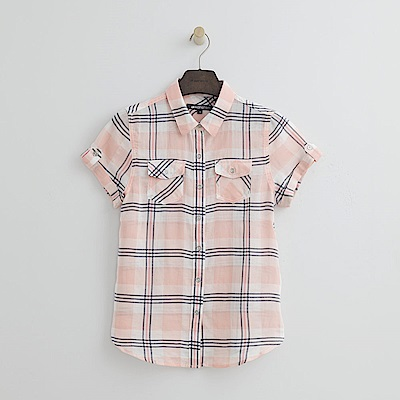 Hang Ten - 女裝 - 寬版線條格紋襯衫-粉色
