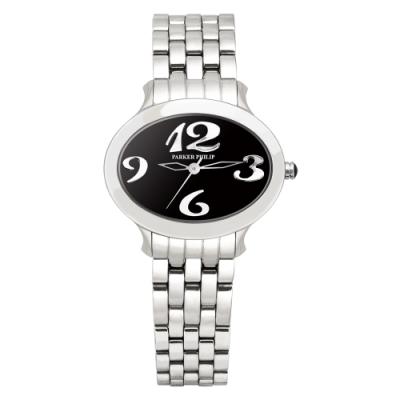 PARKER PHILIP派克菲利浦世紀女王華麗腕錶(磄瓷黑面/鋼帶)