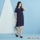 YVONNE 直條紋短袖洋裝-深藍 product thumbnail 1