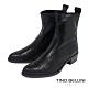 Tino Bellini義大利進口冷峻俐落蛇紋低跟短靴_黑 product thumbnail 1