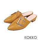 KOKKO -  時髦做自己尖頭穆勒羊皮平底鞋-芒果黃