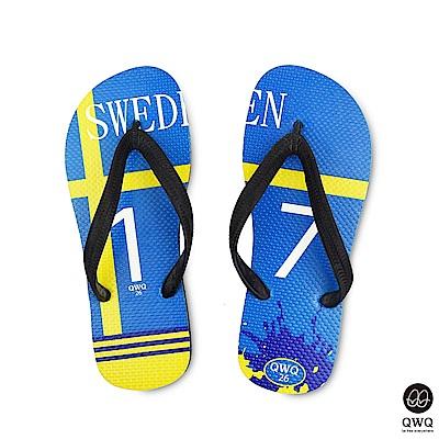 QWQ世界盃足球紀念鞋 瑞典  細帶女款款天然橡膠人字拖