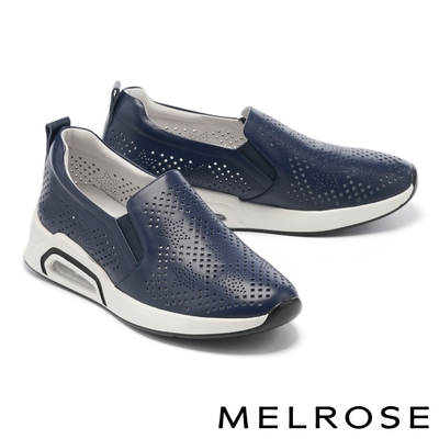 休閒鞋 MELROSE 極簡率性星星沖孔全真皮厚底休閒鞋-藍