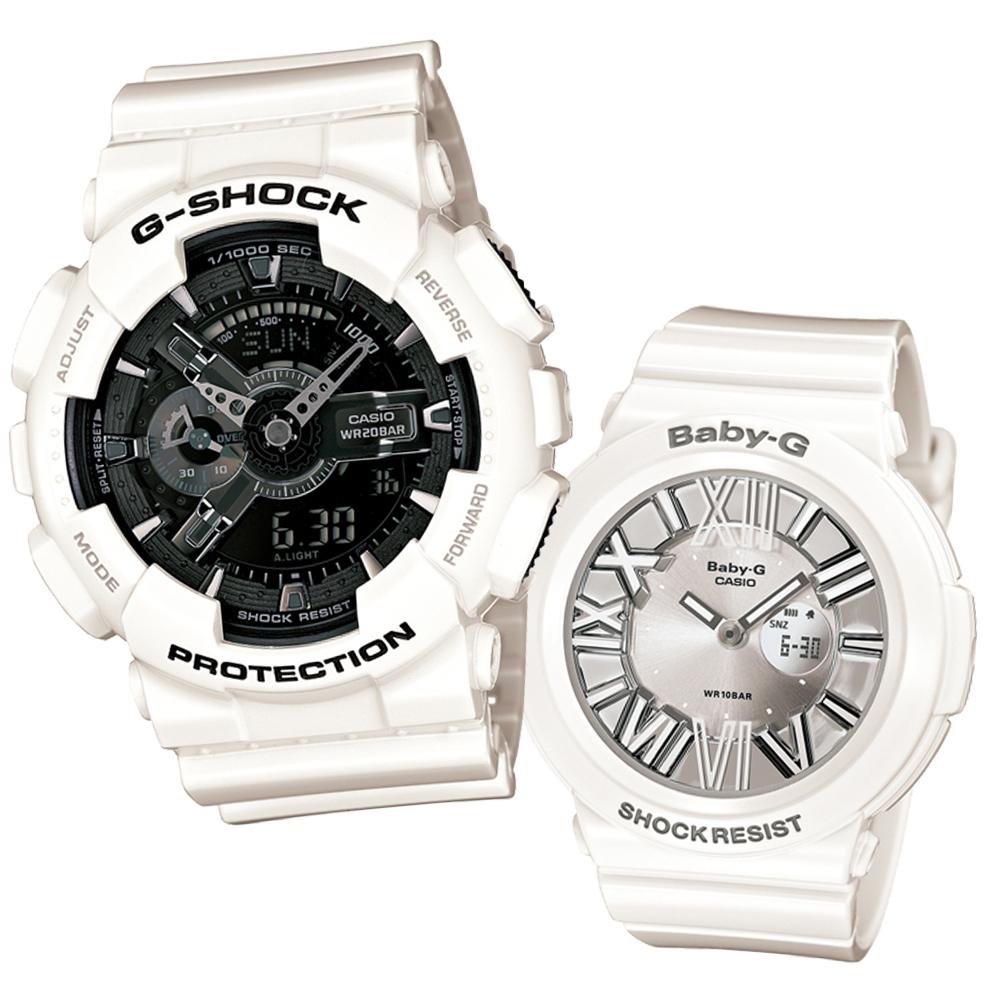 G-SHOCK&BABY-G 冷冽抗暑色調重機裝置Man錶/繽紛夜光羅馬簡約錶-雪花情人版
