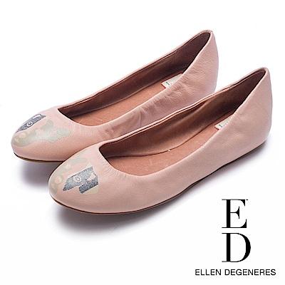 ED Ellen DeGeneres 狗狗印花粉系平底鞋-粉色