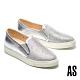 休閒鞋 AS 經典異材質拼接漸層排鑽厚底休閒鞋-銀 product thumbnail 1