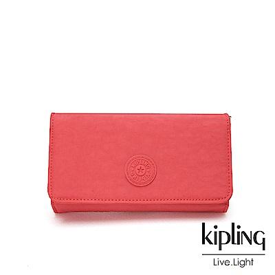 Kipling 亮橘色素面翻蓋長夾-YELINA