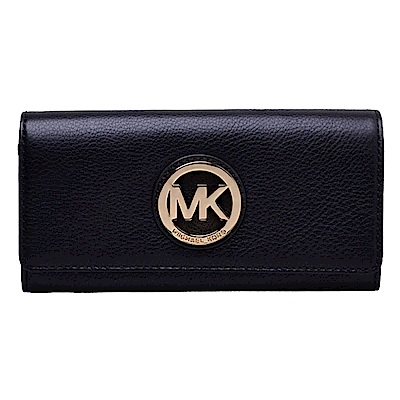 MICHAEL KORS 經典MK LOGO鏤空金屬飾牌長夾(經典黑)