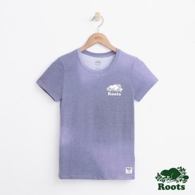 女裝Roots 暈染印花短袖T恤-紫