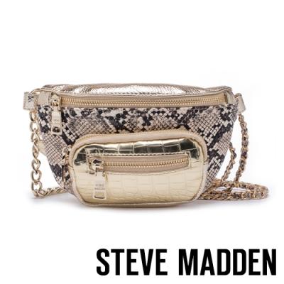 STEVE MADDEN-BSUMMITM 時下潮流 金屬鍊條蛇皮壓紋腰包-金色