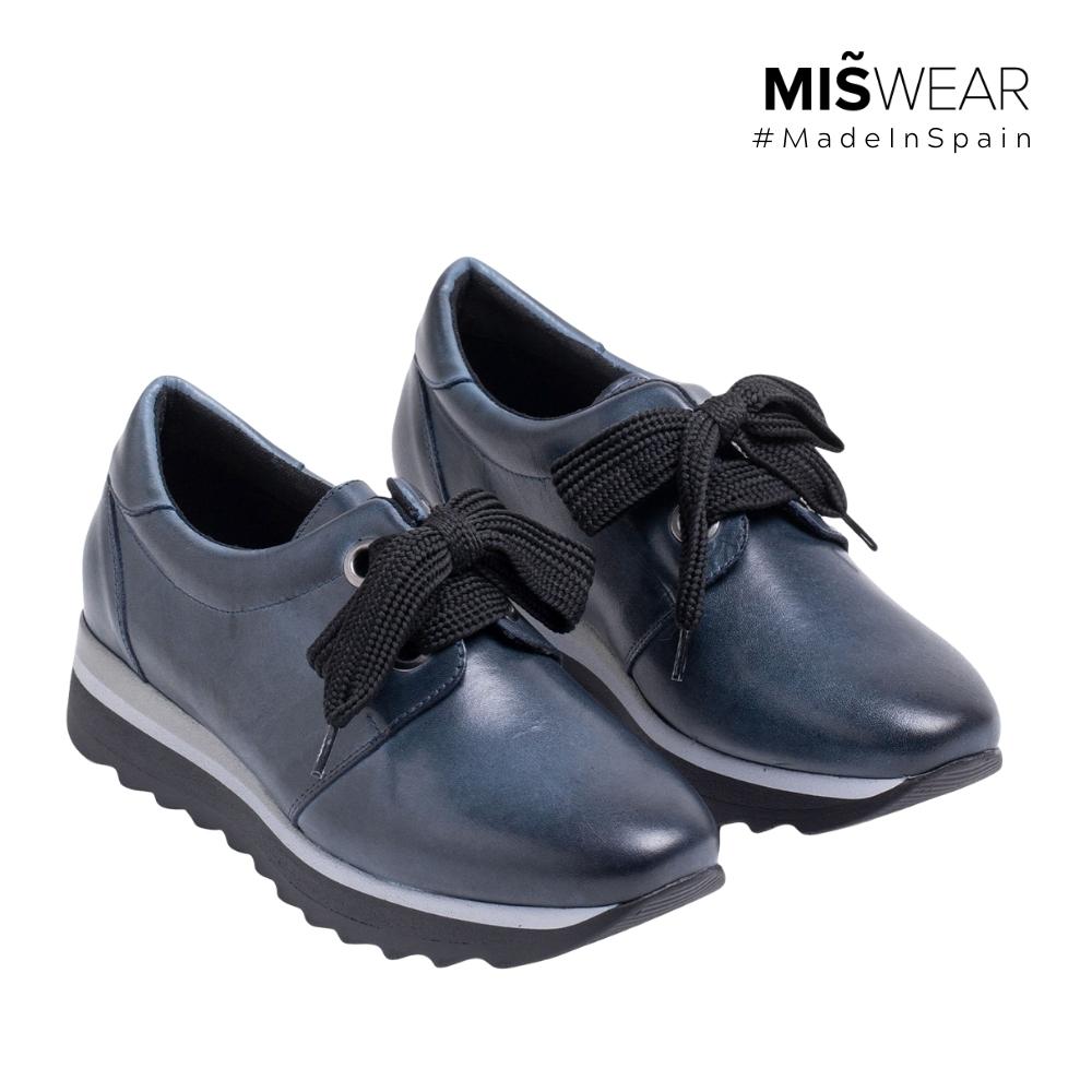 MARILA 牛皮緞帶休閒鞋-黑藍