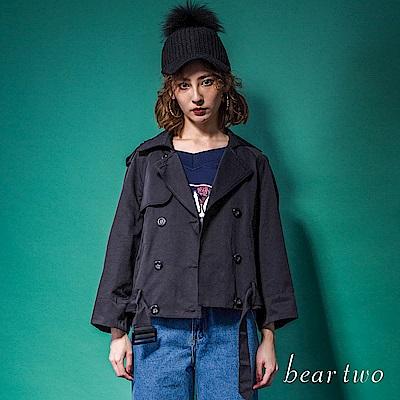 beartwo 網路限定-俏皮撞色內裡短風衣(黑色)