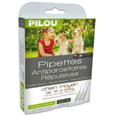 法國皮樂Pilou第二代加強升級-非藥用除蚤蝨滴劑-中型犬用(3支各3ml-6~15kg)兩盒組