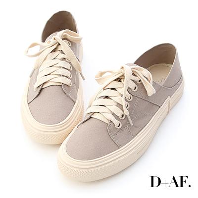 D+AF 街頭休閒.帆布綁帶後踩式休閒鞋*灰