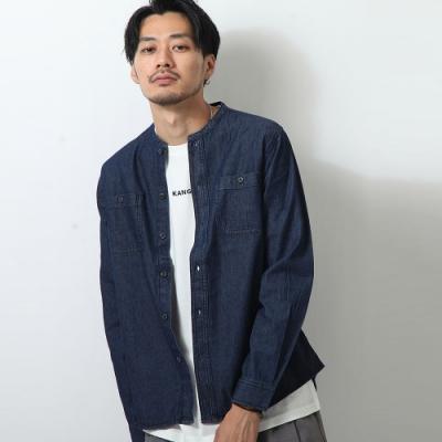 素色丹寧長袖襯衫純棉(2色) ZIP日本男裝