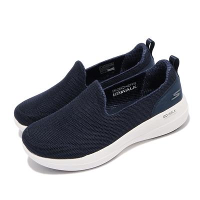 Skechers 休閒鞋 Go Walk Stability 女鞋 寬楦 健走 避震 緩衝 回彈 耐磨 藍 白 124600WNVY
