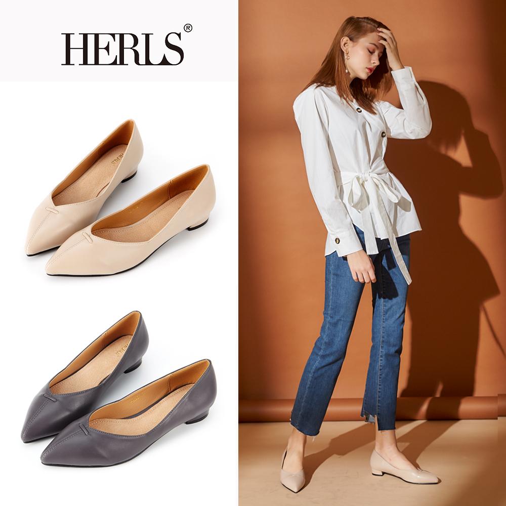 HERLS 簡約大方 內真皮縫線滾邊尖頭低跟鞋(三色)