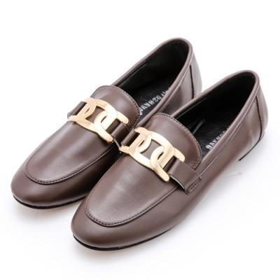 River&Moon小皮鞋 大金飾紳士樂福鞋 咖啡