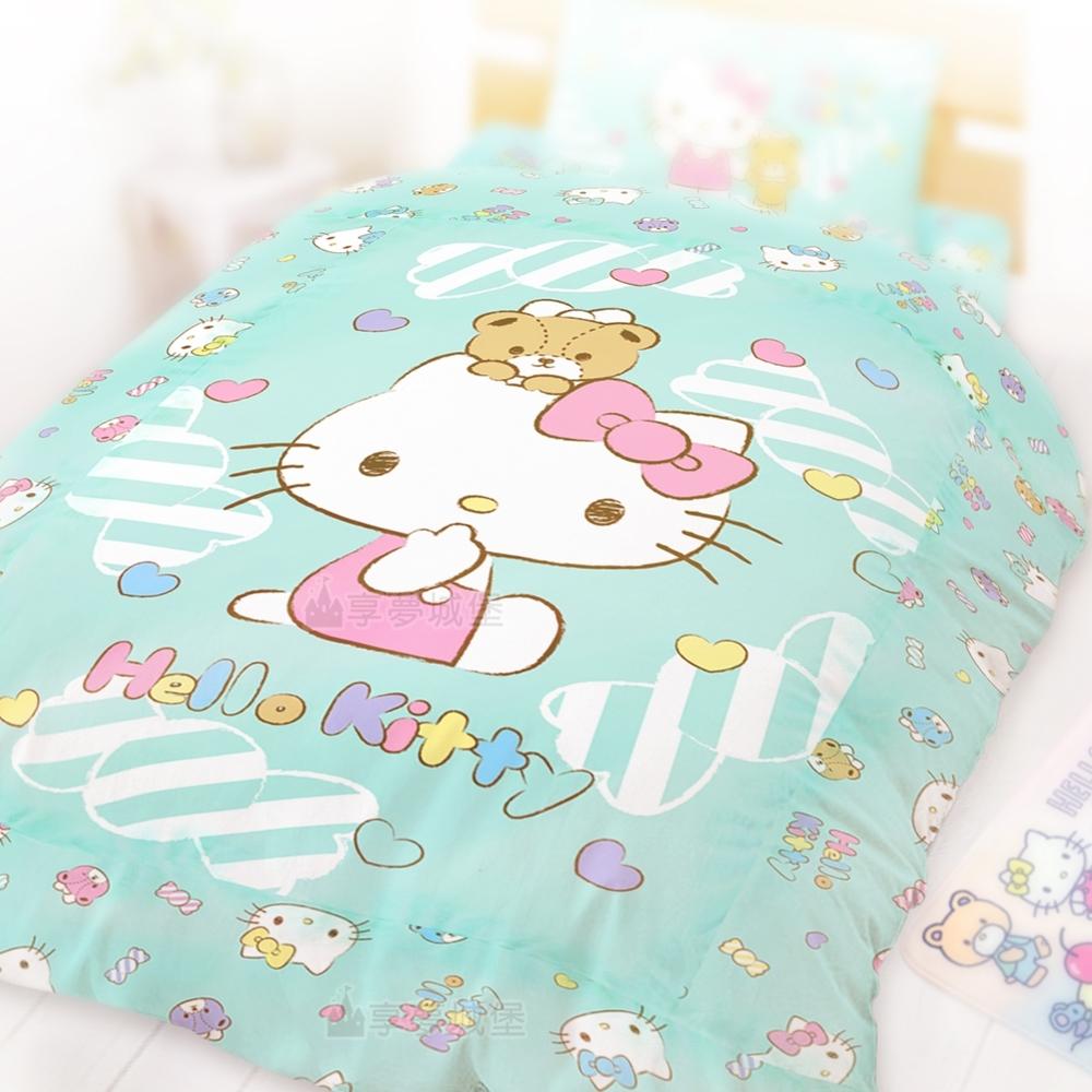享夢城堡 單人冬夏兩用被套4.5x6.5-HELLO KITTY 糖果熊-粉.綠