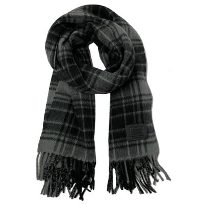 COACH 皮牌LOGO羊毛流蘇厚款圍巾(黑灰格紋)