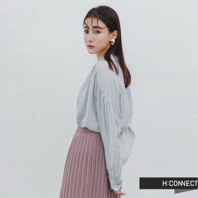 H:CONNECT 韓國品牌 女裝 -抓皺打摺排扣襯衫-藍