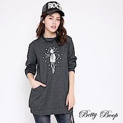 Betty Boop貝蒂 半高領燙鑽口袋剪裁上衣(共兩色)