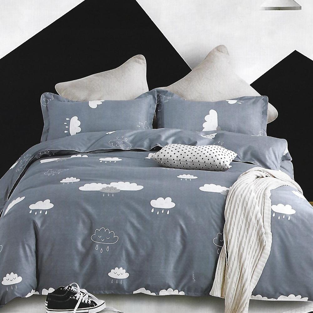 LAMINA 雲朵朵 雙人四件式 柔絲絨兩用被床包組