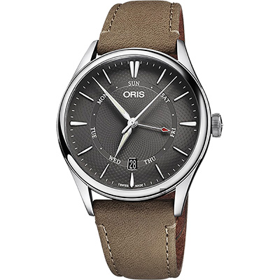 Oris豪利時 Artelier 指針式日曆星期機械錶-灰x咖啡/40mm